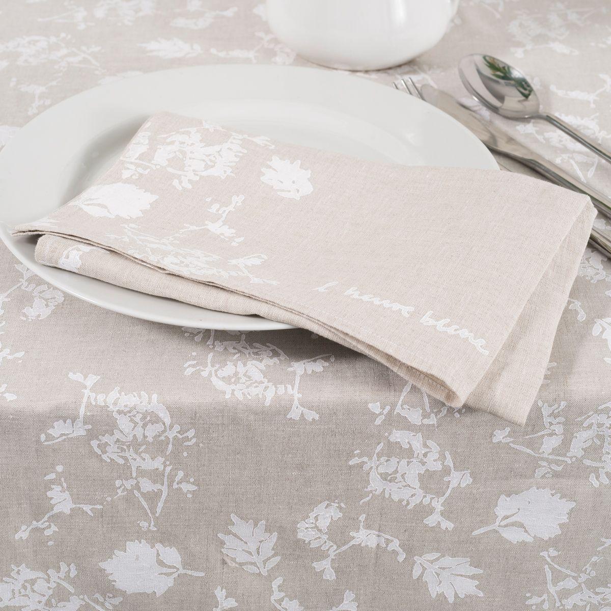 Hand Printed Linen Napkins Foglia Allora Hand Printed Linen Linen Napkins White Linen Napkins
