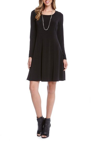 Karen Kane Long Sleeve Fit & Flare Dress available at #Nordstrom  BLACK, SIZE MED