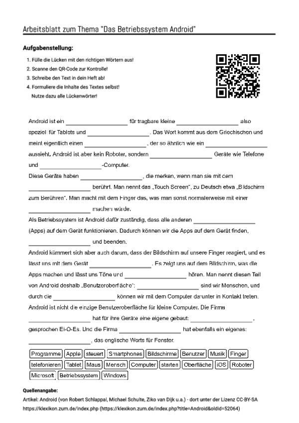 arbeitsblatt mit l ckentext zum thema das betriebssystem android unterricht schule. Black Bedroom Furniture Sets. Home Design Ideas