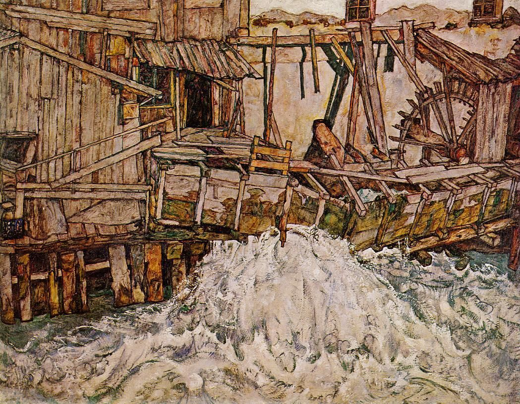 egon schiele(1890-1918), the mill, 1916. oil on canvas. niedersächsisches landesmuseum, hanover, germany  http://www.the-athenaeum.org/art/detail.php?ID=7521