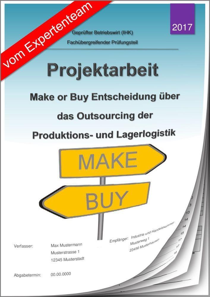betriebswirt bw projektarbeit prsentation ihk make or buy outsourcing 12 - Projektarbeit Betriebswirt Ihk Muster