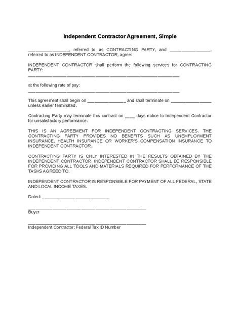 Independent Contractor Agreement Simple home decor Pinterest - sample contractor agreement