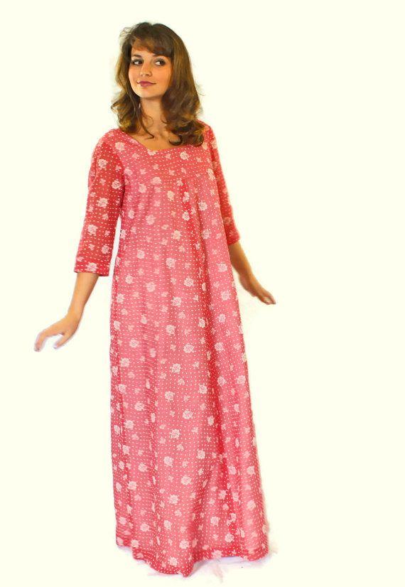 70s Maxi Coral Dress. Hippie Dress by Sears Hawaiian Fashions. Shift ...