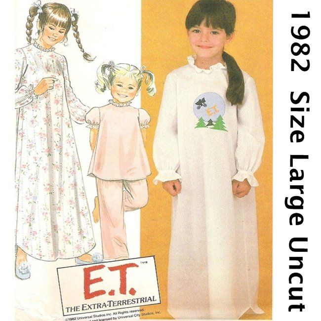 McCall\'s 8355 Sewing Pattern Girl\'s Nightgown Pajamas ET Size Large ...