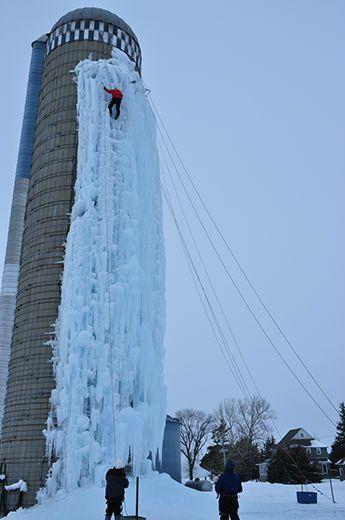 Silo Ice Climbing - Cedar Falls. Opened for the 2013-2014 season on Saturday December 14.