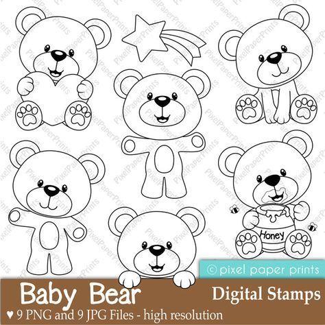 Baby Bear Digital Stamps Фетр Фетр Выкройки и Раскраски