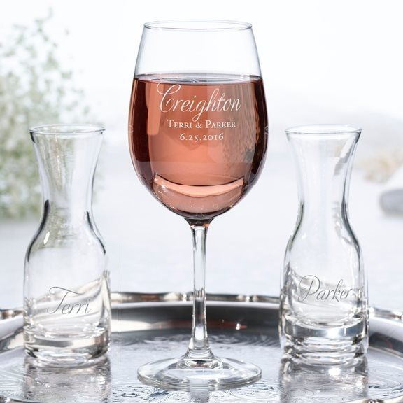 Wine Ceremony Set With Personalized Script Last Name