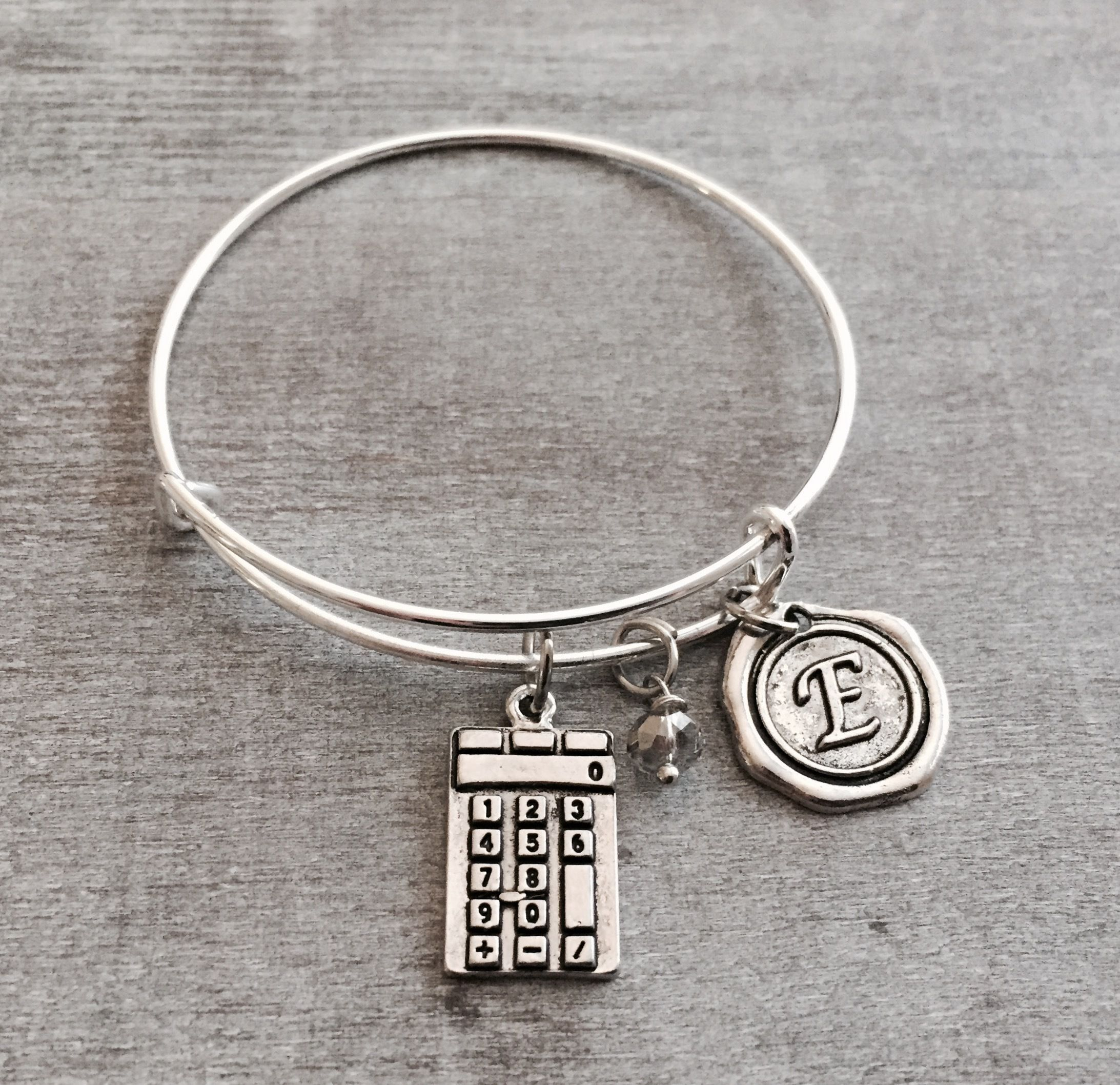 CPA Gift, ACA, CPA Jewelry, Accountant, Calculator charm, Math teacher gift, Finance, Silver Charm, Silver Bangle, Silver Bracelet, Gifts by SAjolie, $18.75 USD