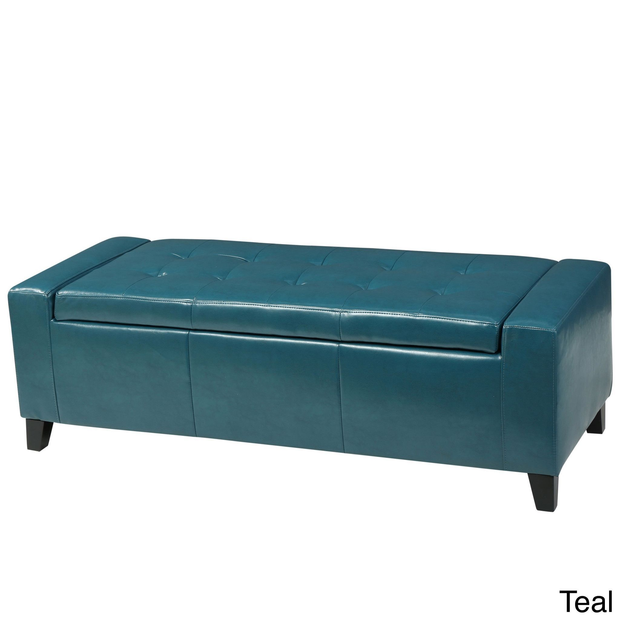 Button Tufted Padded Leather Rectangular Storage Ottoman