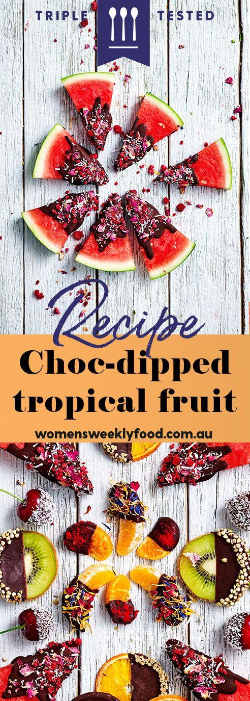 Choc-dipped tropical fruit   Recipe   Chocolate dipped ...