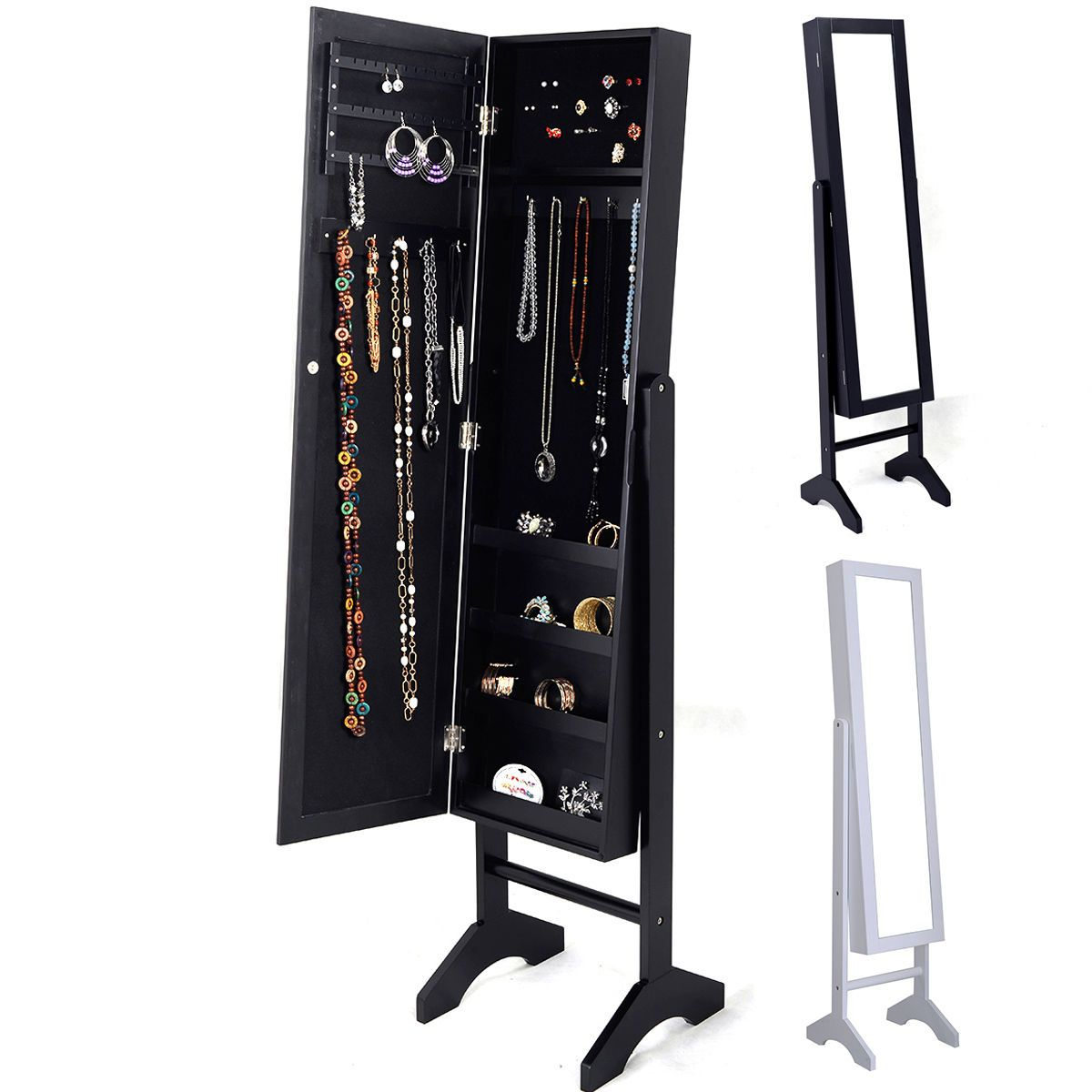 New Mirrored Jewelry Cabinet Mirror Organizer Armoire Storage Box