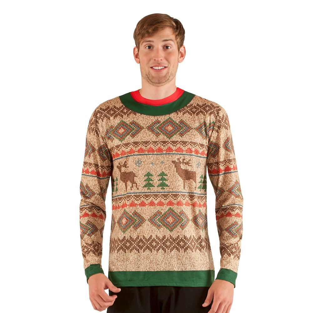 Mens\' Ugly Christmas Sweater Reindeer, Long Sleeve T-Shirt - X-Large ...