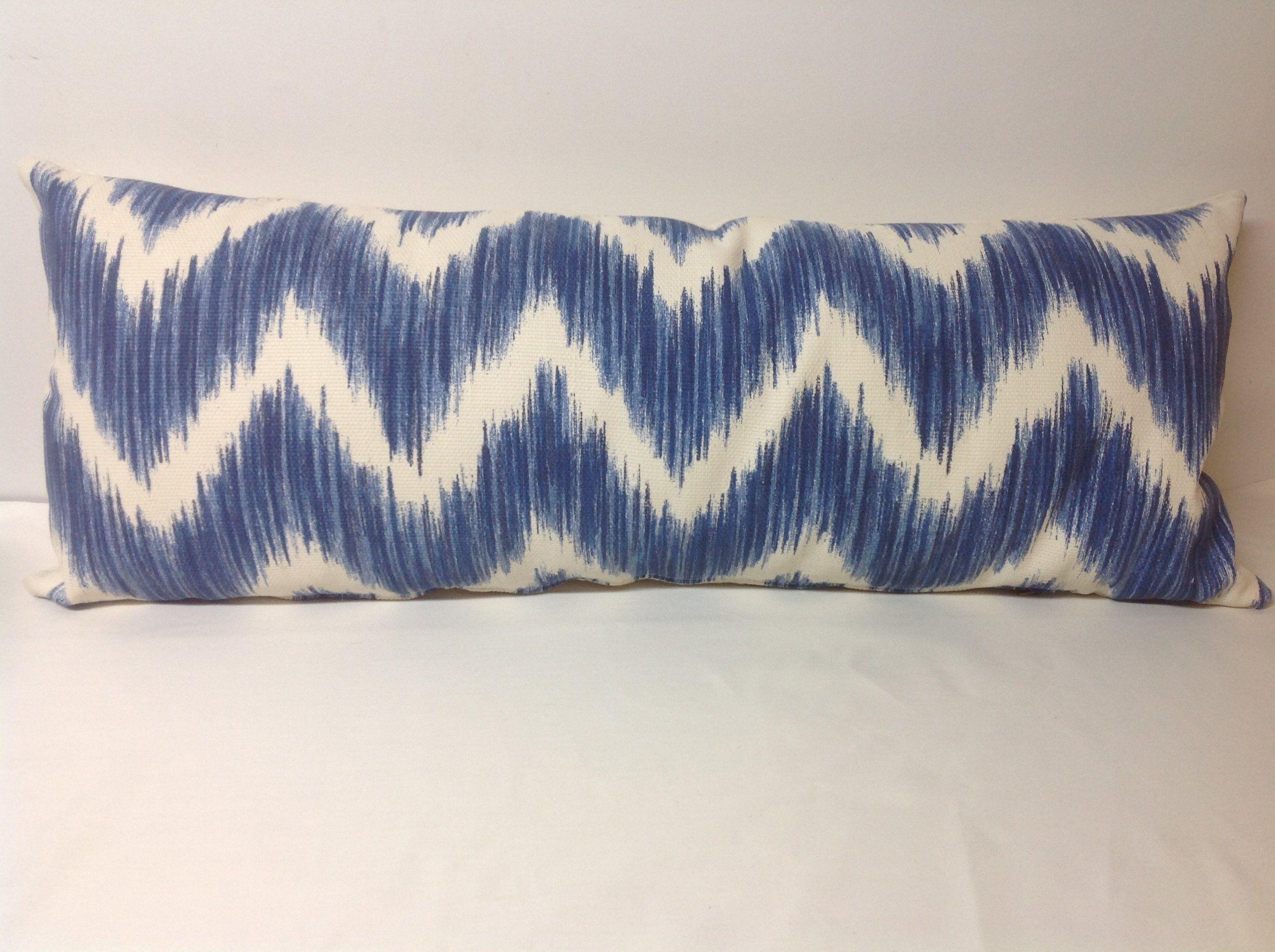 Decorative Pillow Bedding Large Lumbar Pillow Ikat Chevron Blue Free Shipping Pillow Cover Custom Mad Pillows Decorative Pillows Bed Pillows Decorative