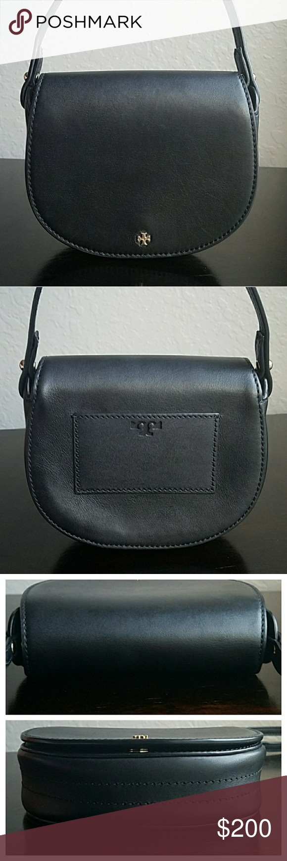 """Tory Burch Small Saddlebag Authentic Tory Burch small saddle bag. Approx. 6.5""""L x 5.5""""H x 2""""D. Adjustable strap with up to a 24"""" drop. Cardholder on exterior back. Interior includes two slip pockets. Great pre-loved condition with light tarnish to the logo & some scratches on the leather that can only be seen when you are looking from a certain angle common w/ this type of leather.   Buy the conference: ✔Poshmark Ambassador ✔Top rated seller ✔Top 10% seller ✔Fast shipper Tory Burch Bags"""