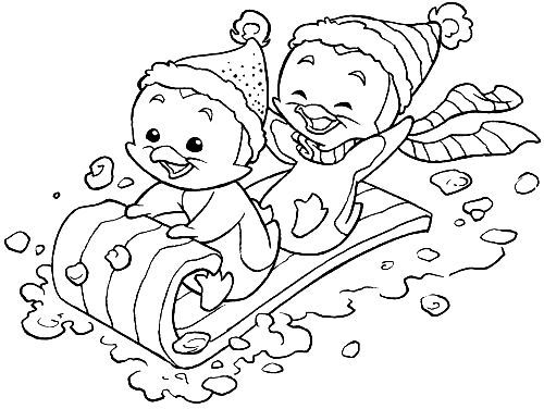 Penguin Sledding Christmas Coloring Pages Coloring Books