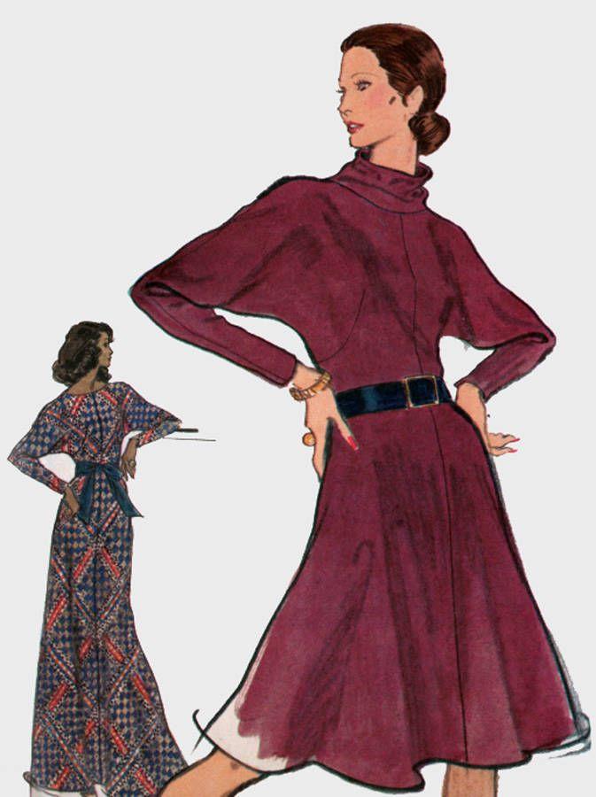 Vintage 1970s Dolman Sleeve Dress Pattern Draped Or Oval Neckline ...