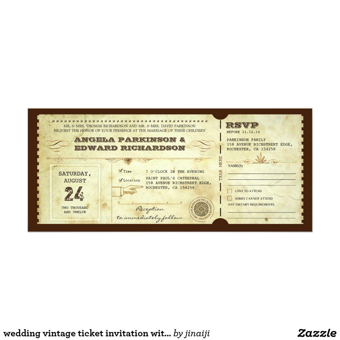 wedding vintage ticket invitation with rsvp design vintage wedding