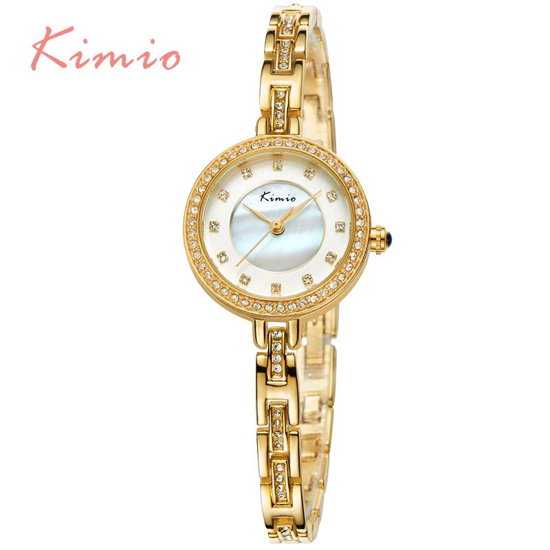 >> Click to Buy << KIMIO Crystal Diamond Shell Dial Women Quartz-watch Ultra-thin Bracelet Band Ladies Watches Dazzling Waterproof montre femme #Affiliate