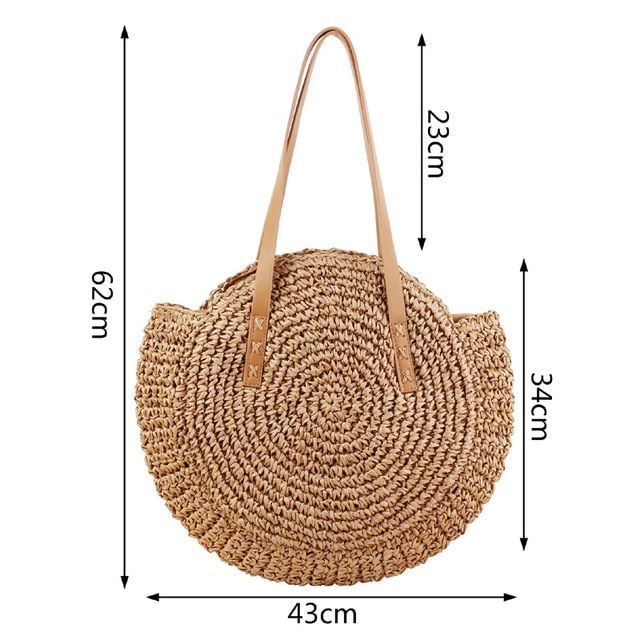 Summer Women Straw Bag Messenger Bow Tow Ladies Messenger Wicker Bags Small Beach Rattan Bag Handwoven Round Yellow Pink Color 6