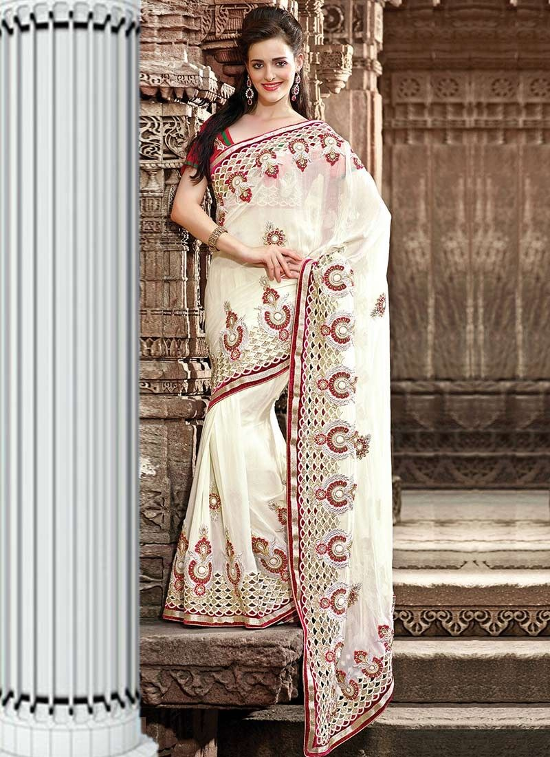 Alluring Cream Georgette Wedding Saree