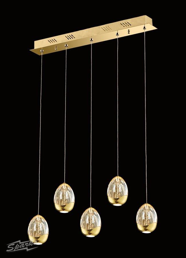 Illuminati terrene 5 light bar pendant in gold 24w 2400lm 3000k champagne bubble glass