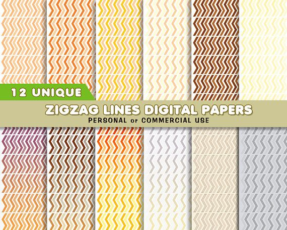 Lines Paper Zigzag Lines Digital Papers Set 12 Unique Zigzag Lines  Paper .