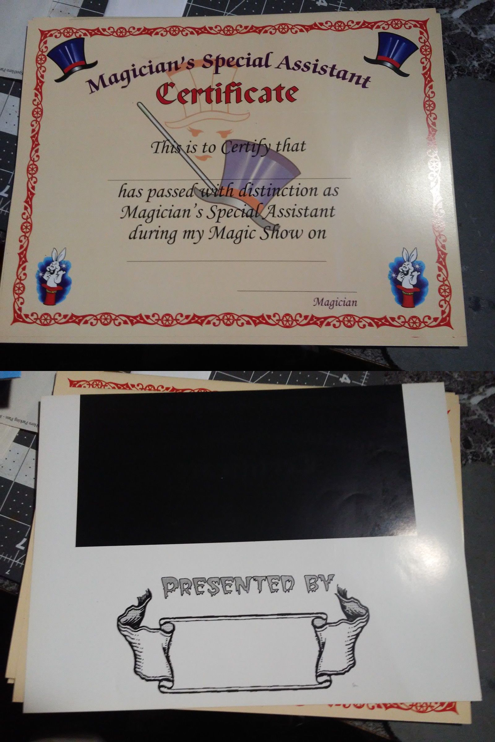 Magicians Special Assistant Certificate Pack Of 25 Magic