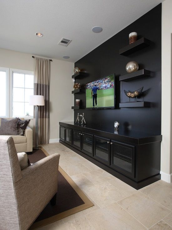 Traditional Media Room Design Pictures Remodel Decor And Ideas This Would Be Neat But Instead Living Room Tv Wall Media Room Design Living Room Theaters
