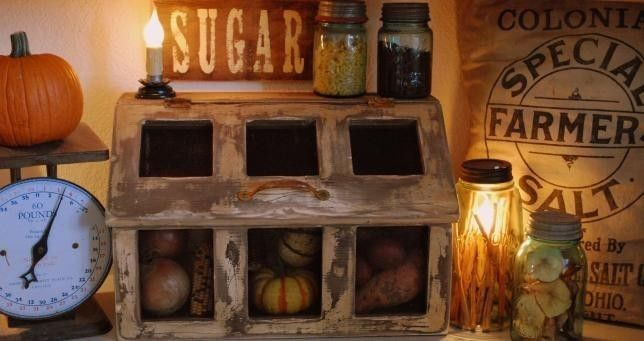 Primitive Bean Bin Vegetable Storage Cupboard Kitchen