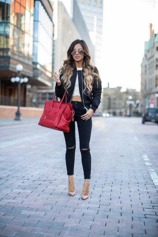 8acbbba757b5 Topshop Bomber Jacket. NastyGal Crop Top. Topshop Skinny Jeans. Celine  Tote. Christian Louboutin Heels. Le Specs Sunglasses.