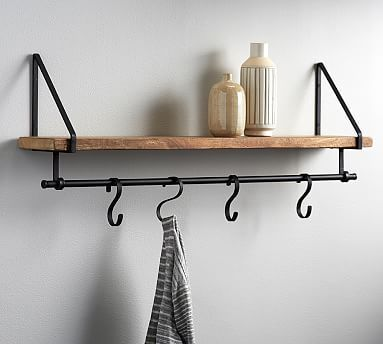 Lucy Mango Wood Shelf With Hooks Shelves Wood Shelves Wall Shelf With Hooks Wood wall shelf with hooks