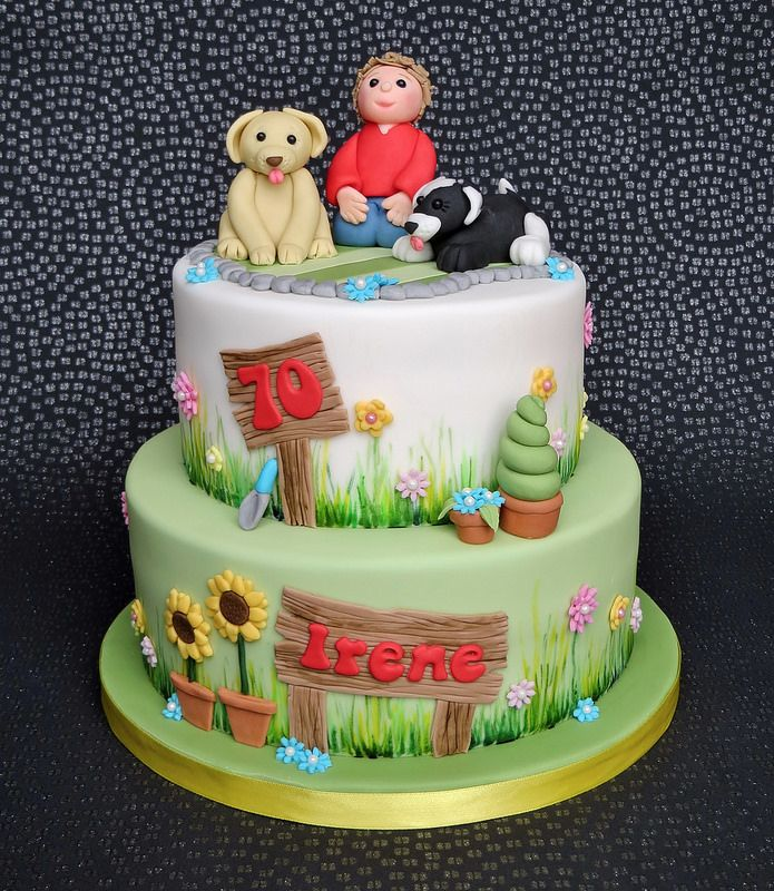 Amazing Garden And Dog Lovers 70Th Birthday Cake Featuring A Labrador Funny Birthday Cards Online Sheoxdamsfinfo