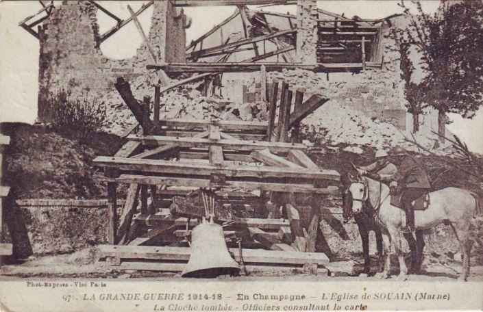 WW1, 1915, Champagne, Marne,  church remains,Souain.