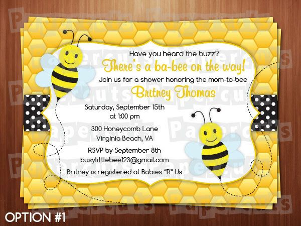 Personalized Black And Yellow Honey Bee Bumble Busy Theme Baby Shower Invitation