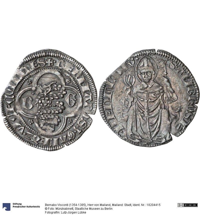 Mailand Stadt Münze Bernabo Visconti 1354 1385 Herr Von Mailand