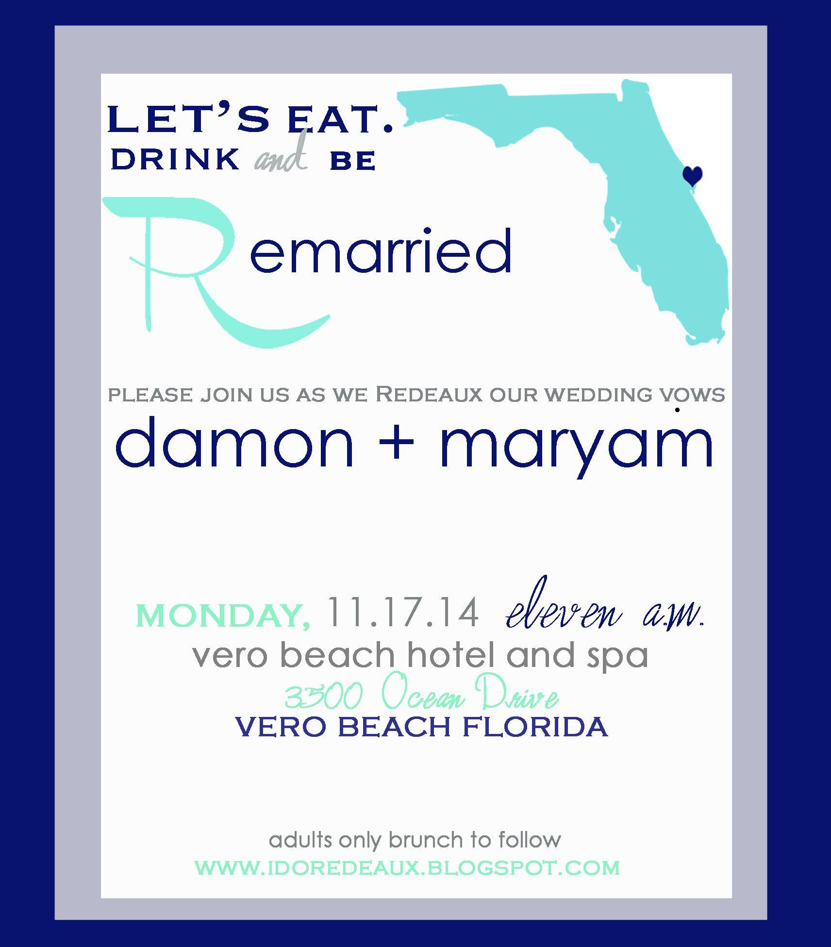 grey, white, navy, and tiffany blue vow renewal invitation. I love ...
