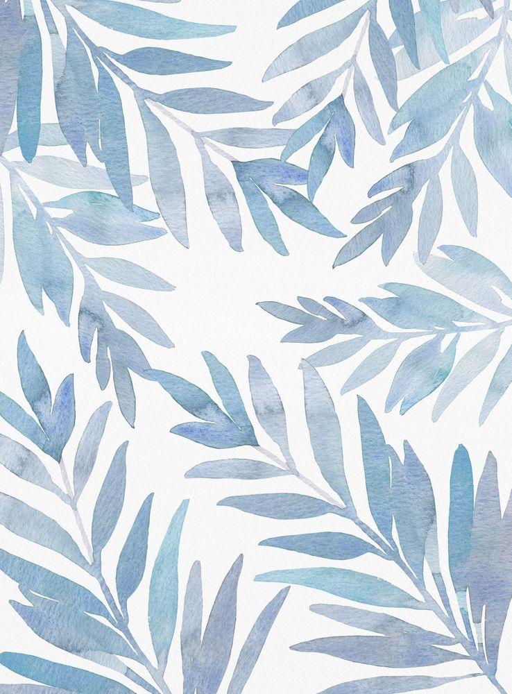 Muted Blue Palm Leaves Framed Art Print