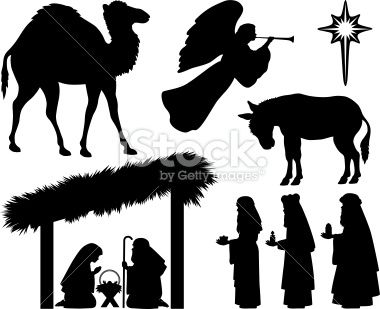 Nativity Silhouettes Including Camel Angel Three Magi Bringing
