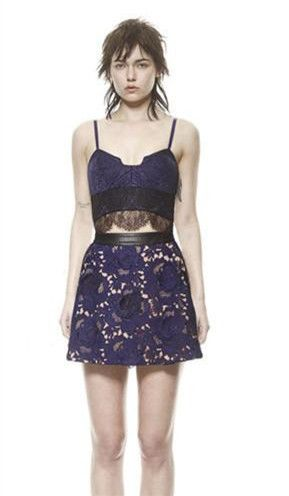 Navy Blue Strapless Lace Top A-line Dress