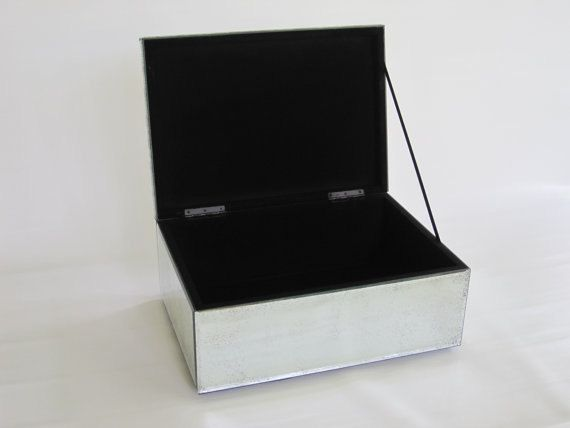 Vintage Large Jewelry Box Art Deco Beveled Mirror Velvet Lined Organizer Storage