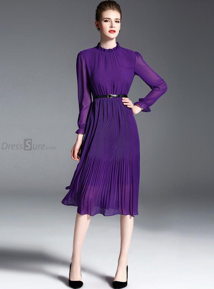 f8b5ad9d88 Elegant Chiffon Stand Collar Long Sleeve Purple Pleated Skater Dress  Without Belt - DressSure.com