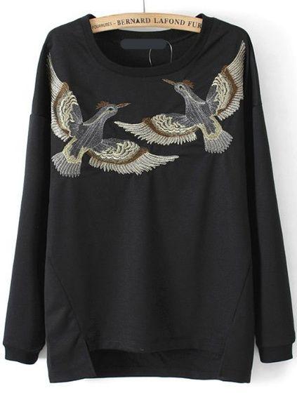Dip Hem Split Bird Embroidered Sweatshirt Mobile Site