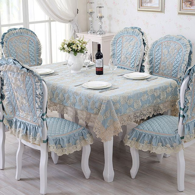 European Luxury Dining Table Cloth Blue Rectangle Table Cover Lace
