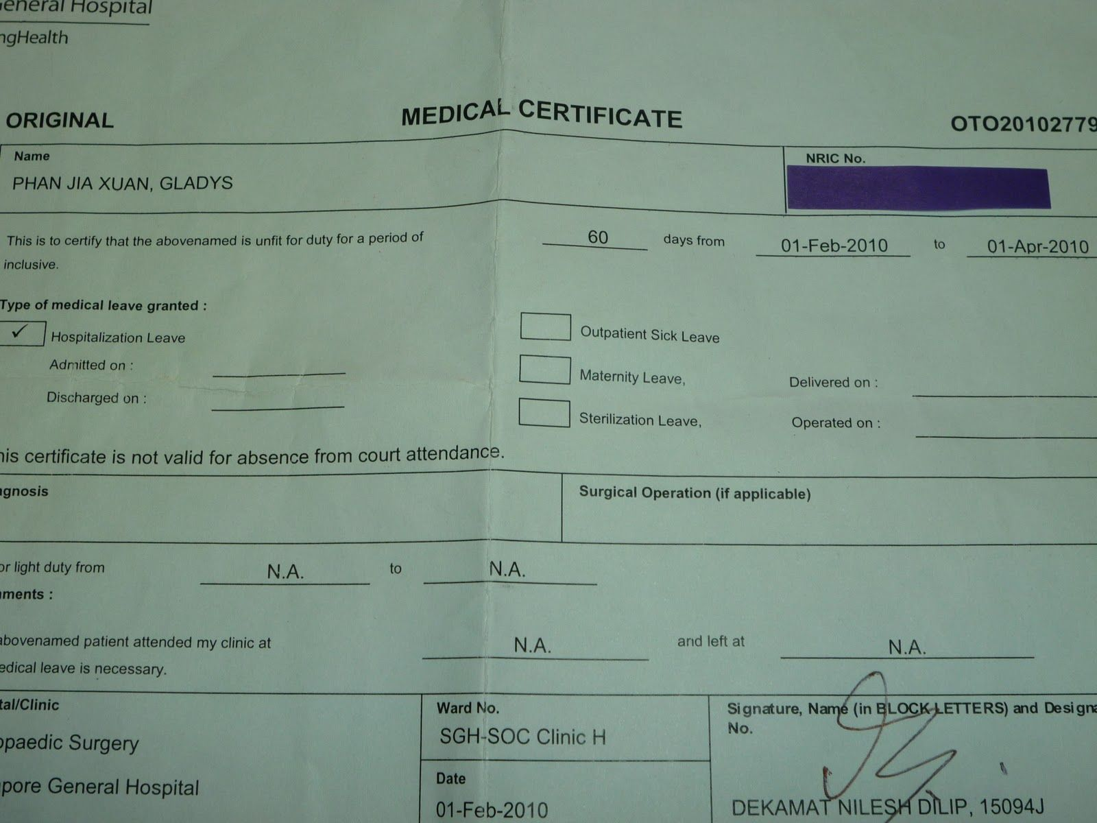 medical certificate singapore template. | Templates ...