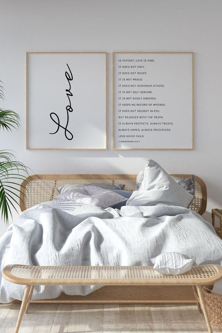 Love Is Patient Love is Kind | Master Bedroom Wall Art | 1 Corinthians 13 | Bible Verse Wall Art | W