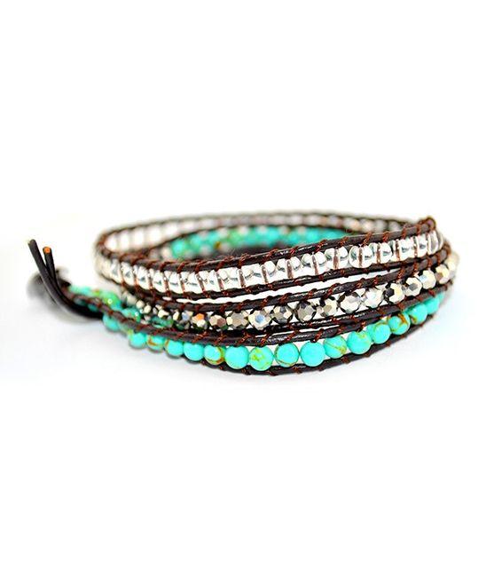 Turquoise & Silver Beaded Leather Three-Wrap Bracelet