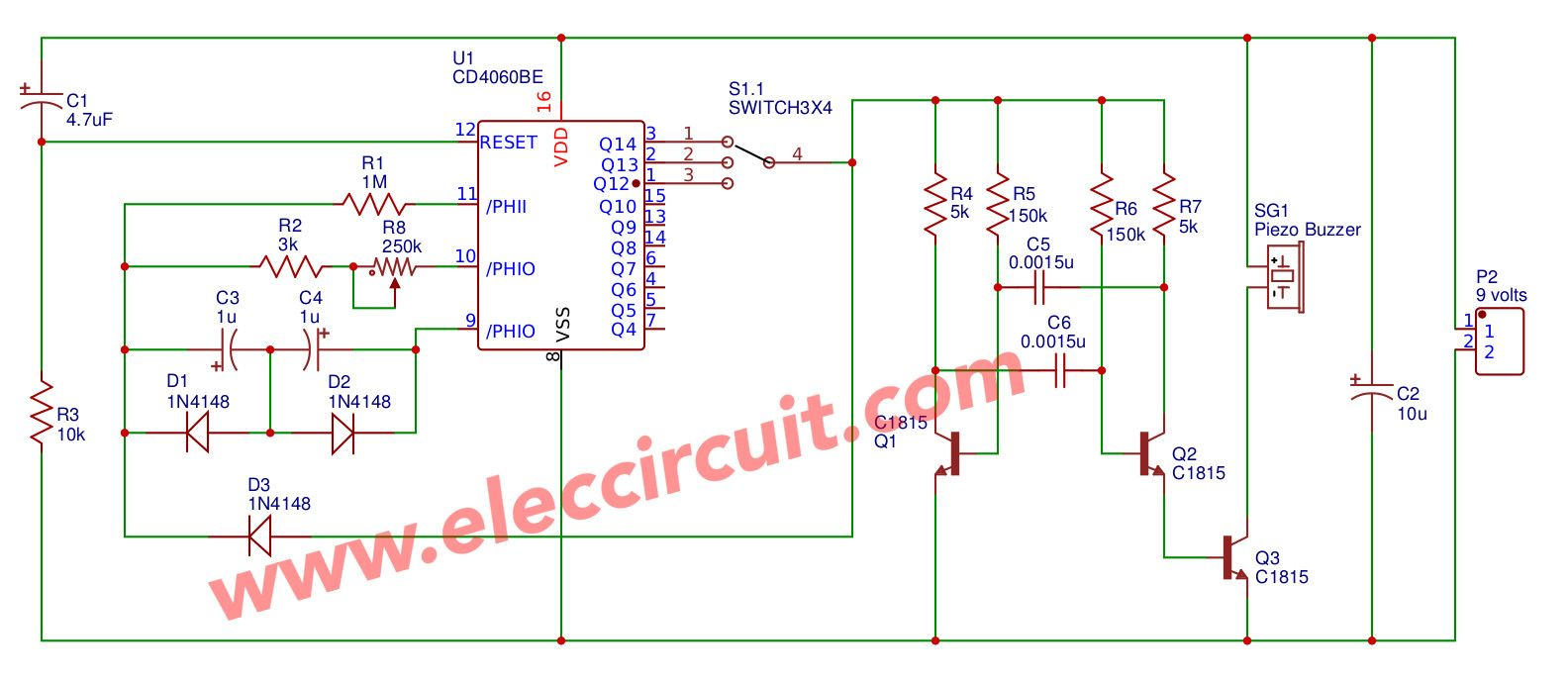 Cd4060 Alarm Clock Timer Circuit Mini Electronics Projects Rs Flip Flop Using Op Amp
