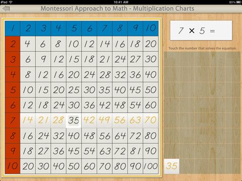 Multiplication Charts For The Ipad By Mobile Montessori Used By