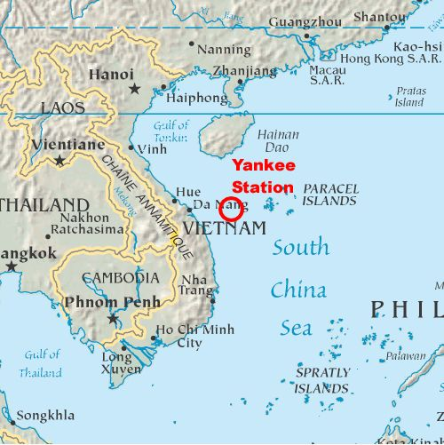 Location of Yankee Station - USS RANGER CV-61 South China Sea off ...