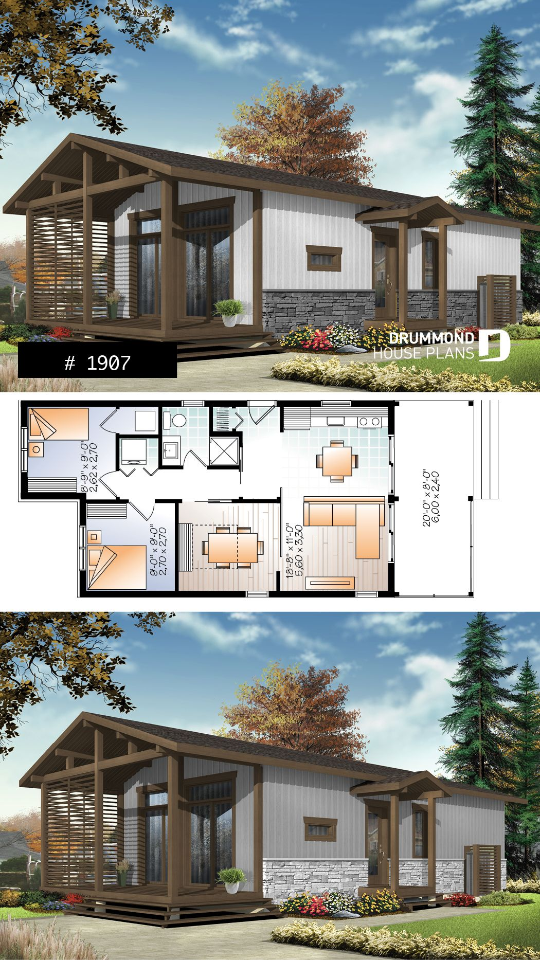 Modern rustic 700 sq ft tiny small house plan very versatile 3 bedrooms large covered deck